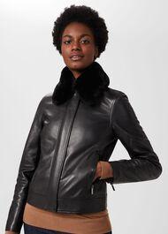 Sera Leather Jacket, Black, hi-res