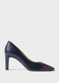 Christina Suede Bock Heel Court Shoes, Navy Wine, hi-res