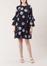 Allium Silk Dress, Navy, hi-res