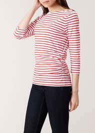 Rebecca Ruched Top, White Red, hi-res