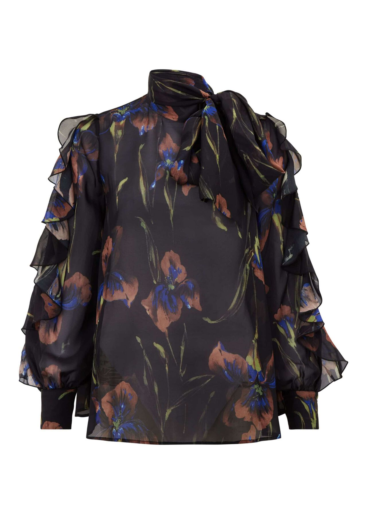 Elena Silk Blouse Black Multi