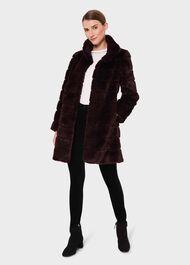 Ros Faux Fur Coat, Dark Berry, hi-res