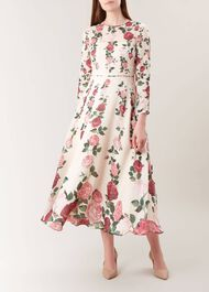 Victoria Rose Silk Dress, Ivory Pink Mlt, hi-res