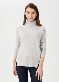 Dahlia Cashmere Rollneck Sweater, Pale Grey Marl, hi-res