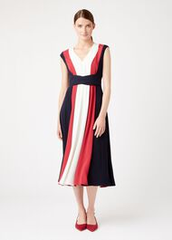 Bailly Dress, Navy Ivory Pink, hi-res