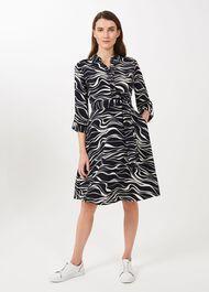 Clarice Printed Shirt Dress, Navy Buttrcream, hi-res
