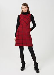 Verity Wool A Line Dress, Red Black, hi-res
