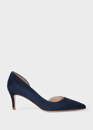 Selena Suede D'Orsay Court Shoes, Navy, hi-res