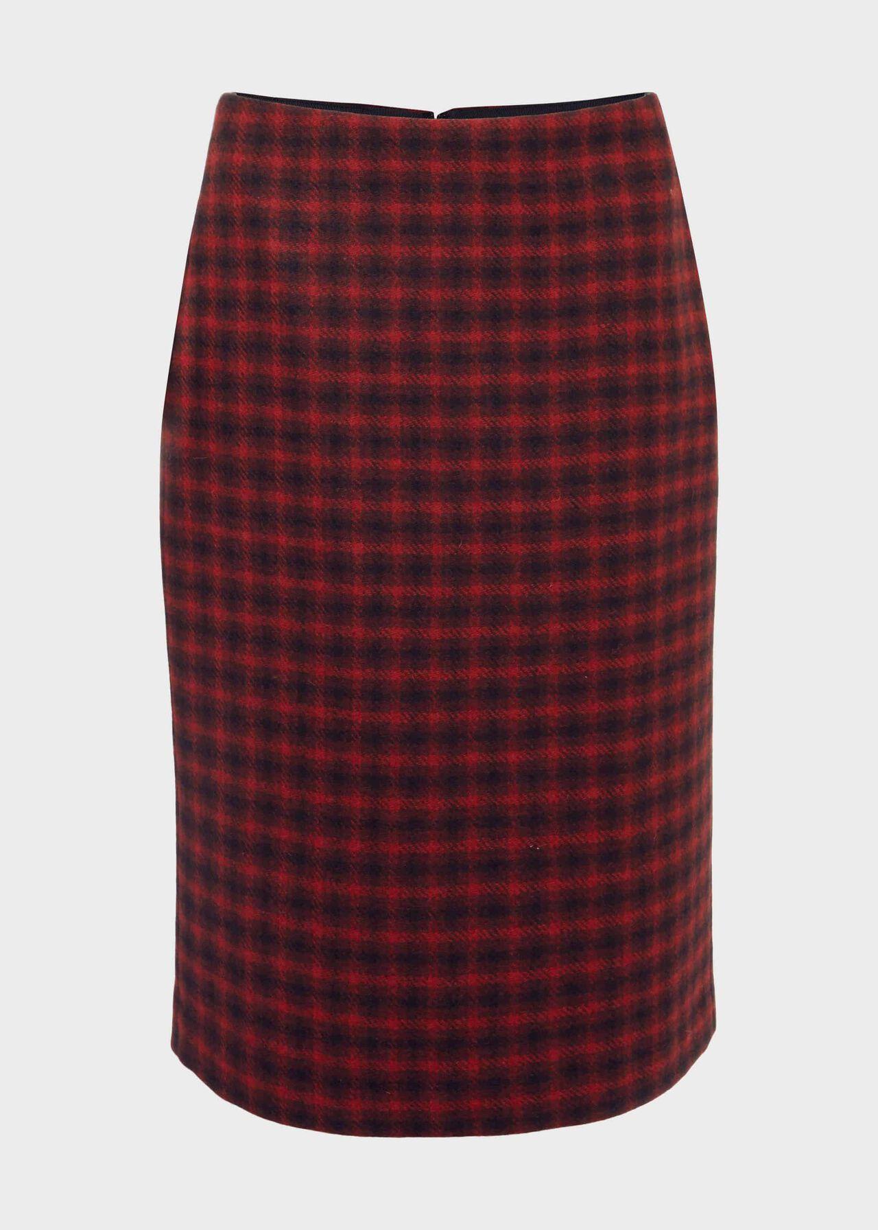 Daphne Wool Pencil Skirt Red Black