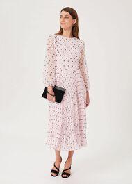 Selena Spot Pleated Dress, Pale Pink Black, hi-res