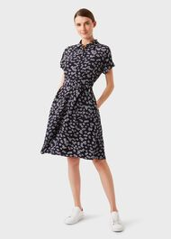 Aurelia Floral Fit And Flare Dress, Navy Ivory, hi-res