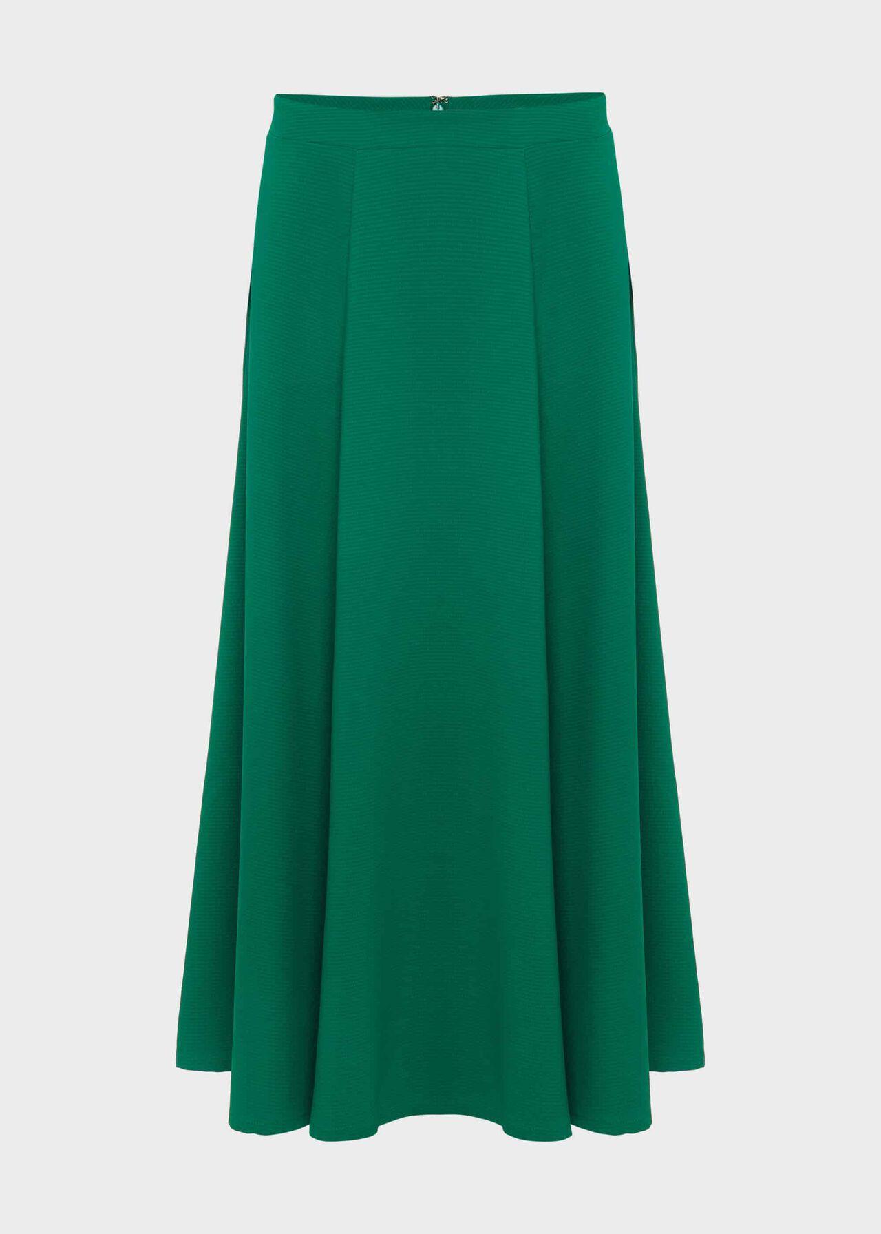 Marie Satin Midi Skirt Field Green