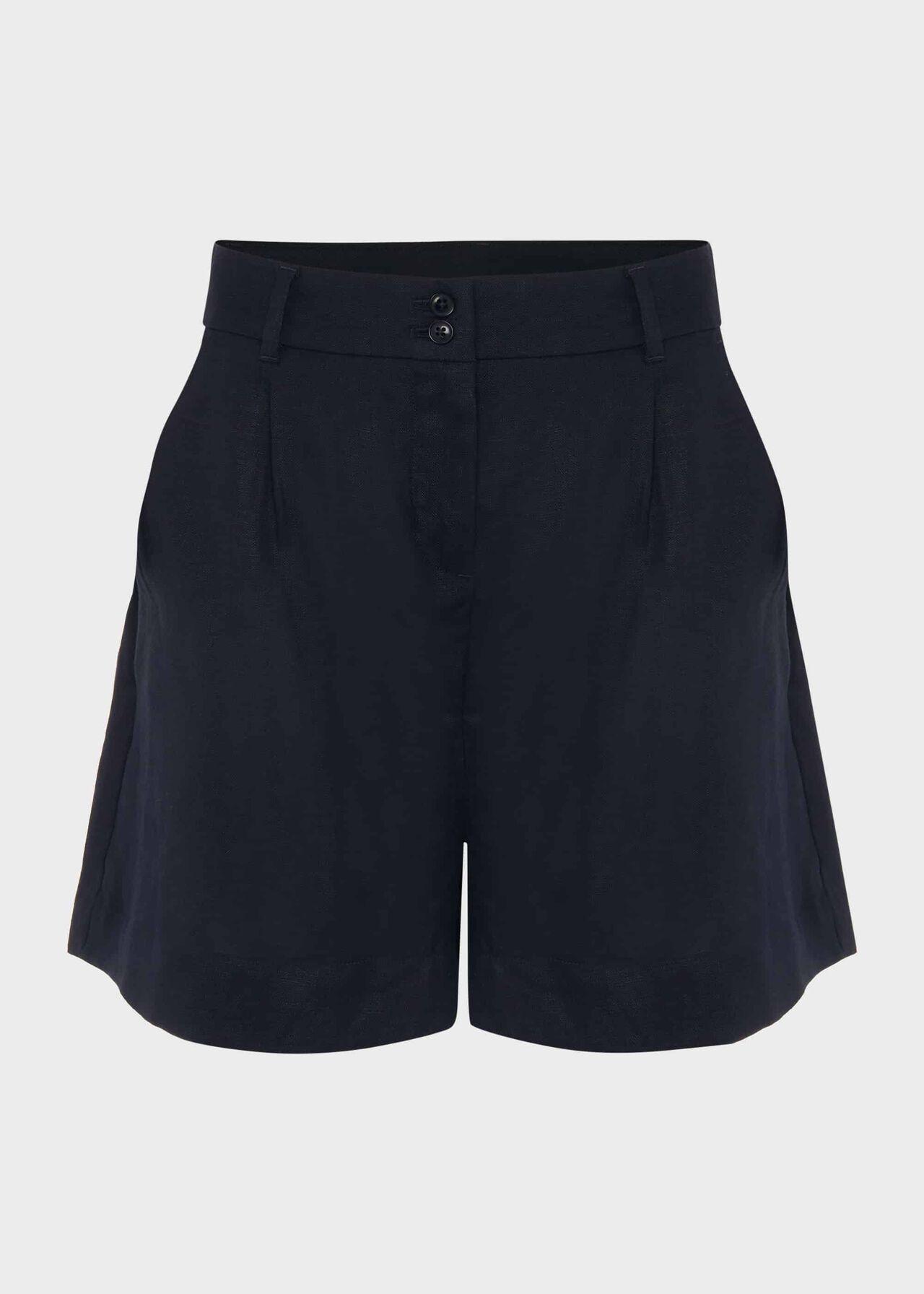 Dawn Linen Shorts, Navy, hi-res