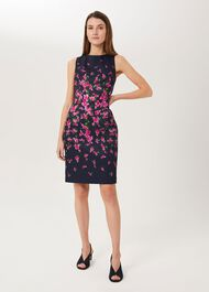 Moira Floral Shift Dress, Navy Fuchsia, hi-res
