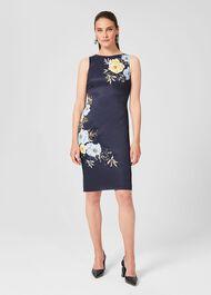 Moira Floral Shift Dress, Navy Yellow, hi-res