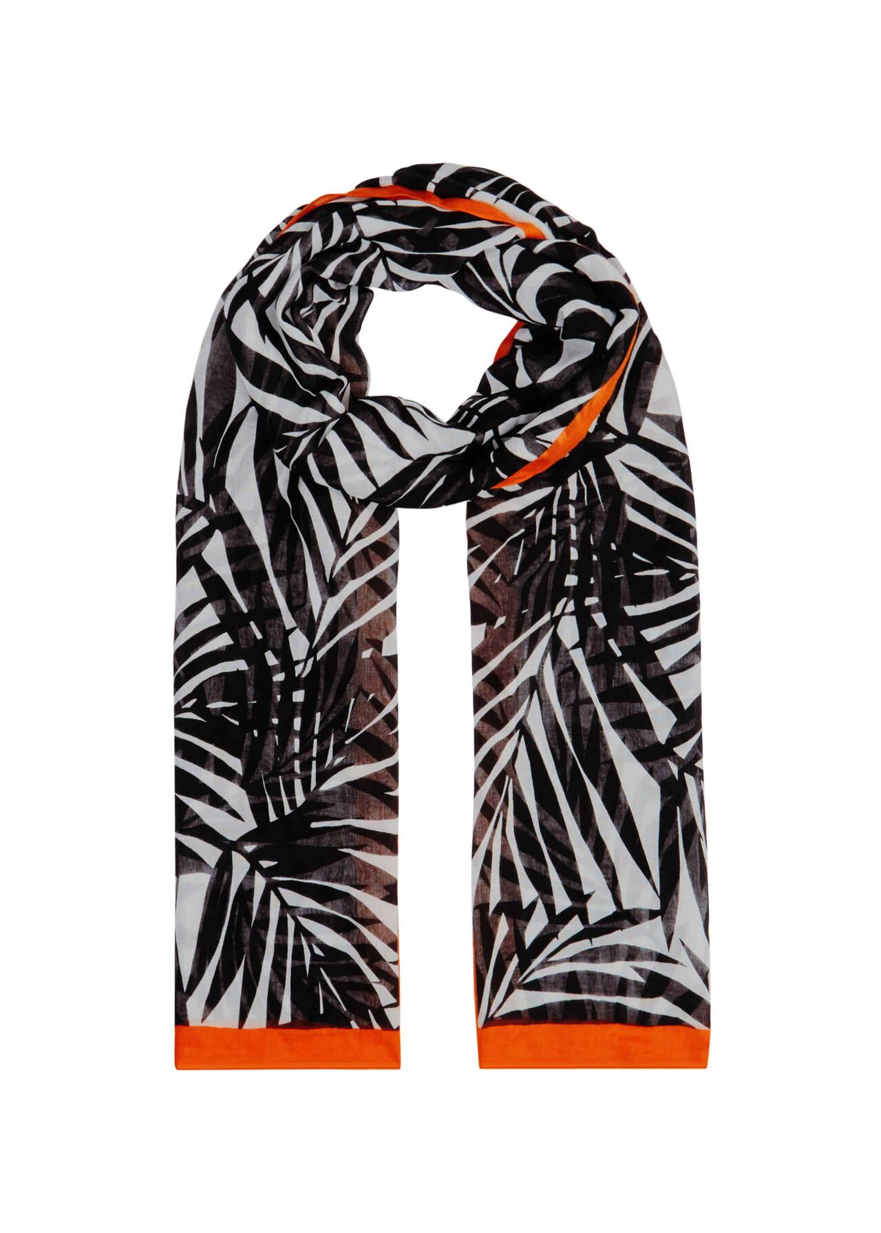 Palm Scarf, Navy Red, hi-res