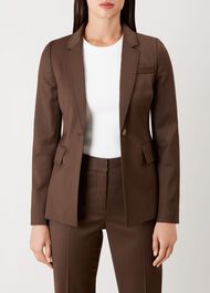 Penelope Wool Blend Jacket, Chocolate, hi-res