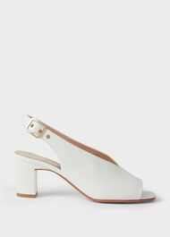Kali Leather Block Heel Sandals, Ice White, hi-res