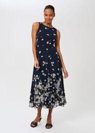 Petite Carly Floral Midi Dress, Midnight Ivory, hi-res