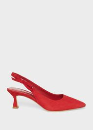 Julia Suede Slingback Shoes, Poppy Red, hi-res