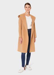 Harper Double Face Wool Blend Hood Coat, Camel, hi-res