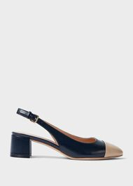 Emily Leather Block Heel Slingback Court Shoes, Navy, hi-res