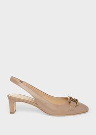 Phoebe Leather Block Heel Slingback, Fawn, hi-res