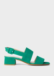 Claudia Suede Block Heel Sandals, Field Green, hi-res