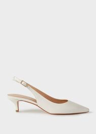 Annie Leather Slingback Court Shoes , Ice White, hi-res