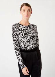 Riley Printed Sweater, Grey Black, hi-res