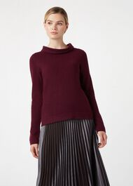 Audrey Wool Cashmere Sweater, Grape, hi-res