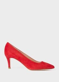 Elouise Suede Stiletto Court Shoes, Scarlet Red, hi-res