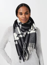 Alba Check Scarf, Black Ivory, hi-res