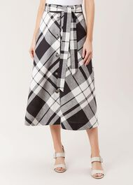 Lucia Linen Blend Skirt, Black White, hi-res