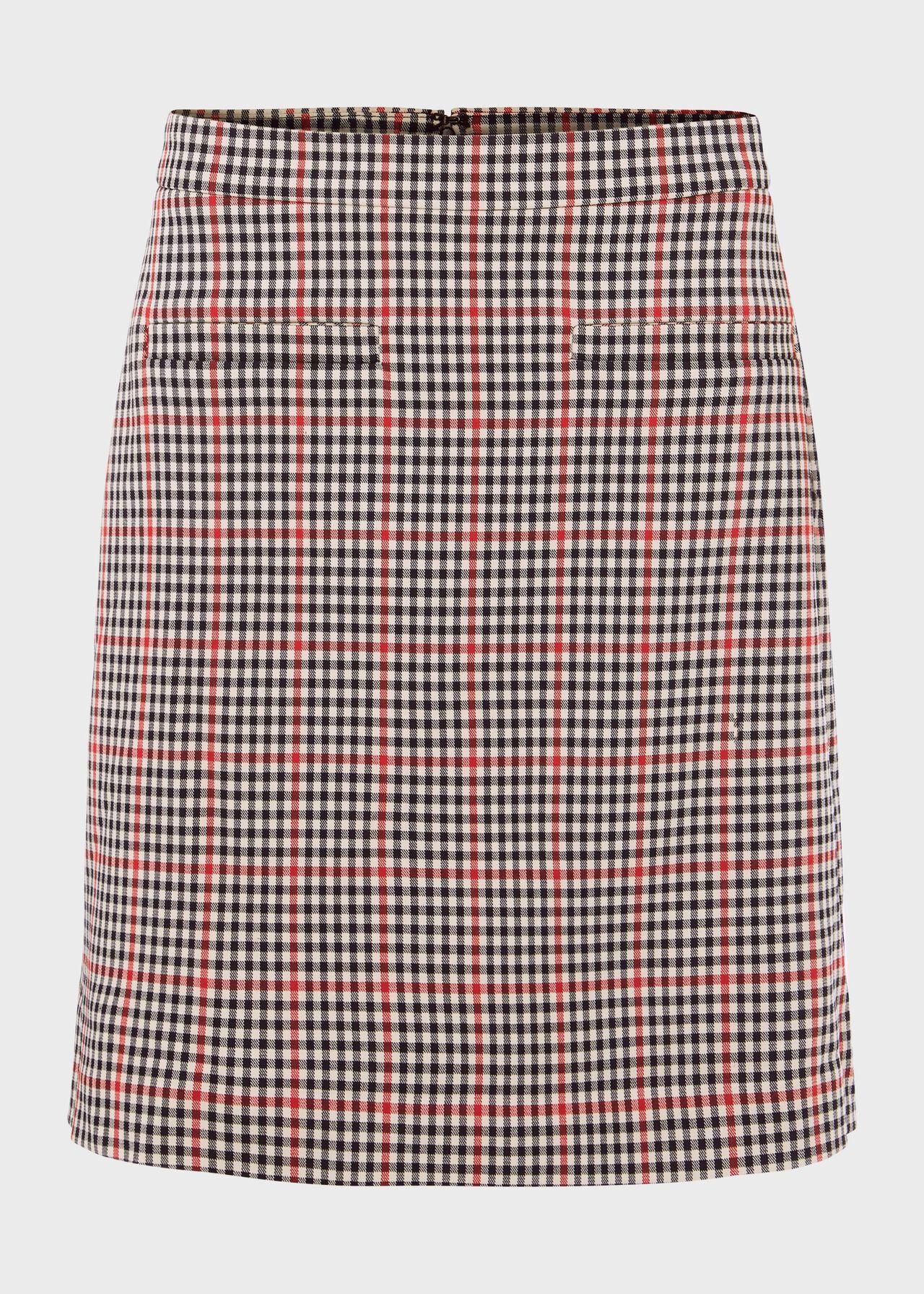 Vanetta Check A Line Skirt Red Black