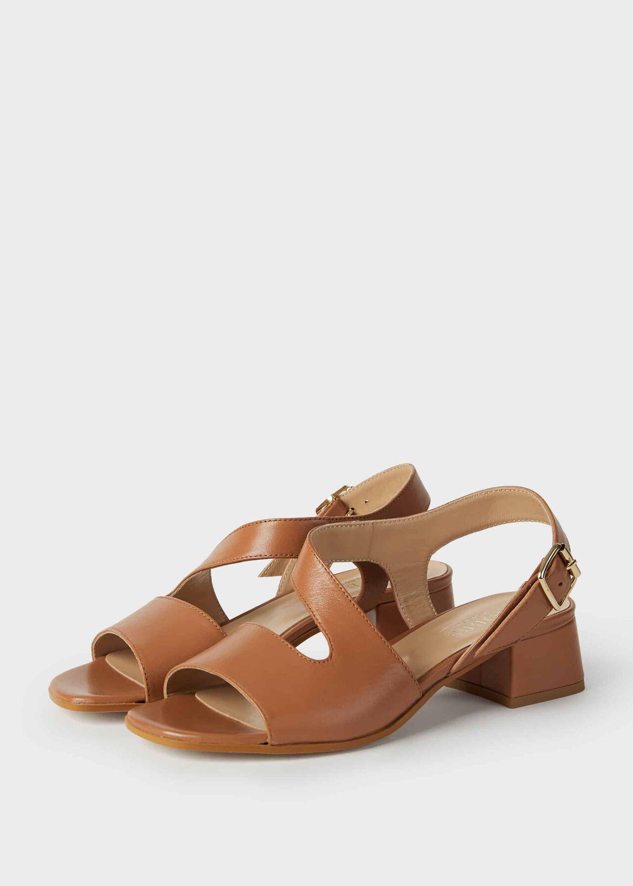 Leather Block Heel Sandals Toffee