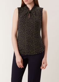Sleeveless Amber Top, Navy Yellow, hi-res