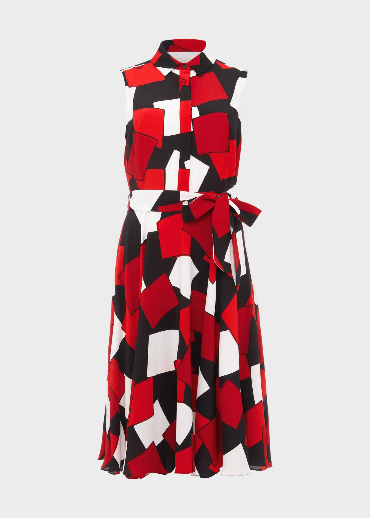 Belinda Geometric Fit And Flare Dress Red Multi