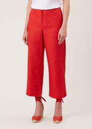 Nicole Linen Crop trousers, Bonfire Red, hi-res