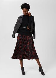 Losie Midi Pleated Skirt, Black Multi, hi-res