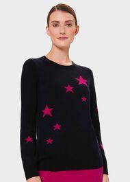 Samira Wool Cashmere Star Sweater, Navy Pink, hi-res