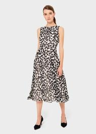 Petite Carly Printed Midi Dress, Ivory Black, hi-res