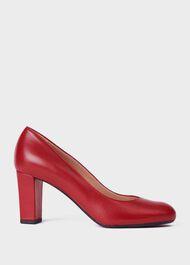 Sonia Leather Block Heel Court Shoes, Dark Cherry, hi-res