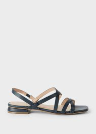 Gabrielle Leather Sandals, Navy, hi-res