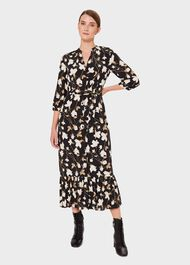 Magda Floral Midi Dress, Black Multi, hi-res
