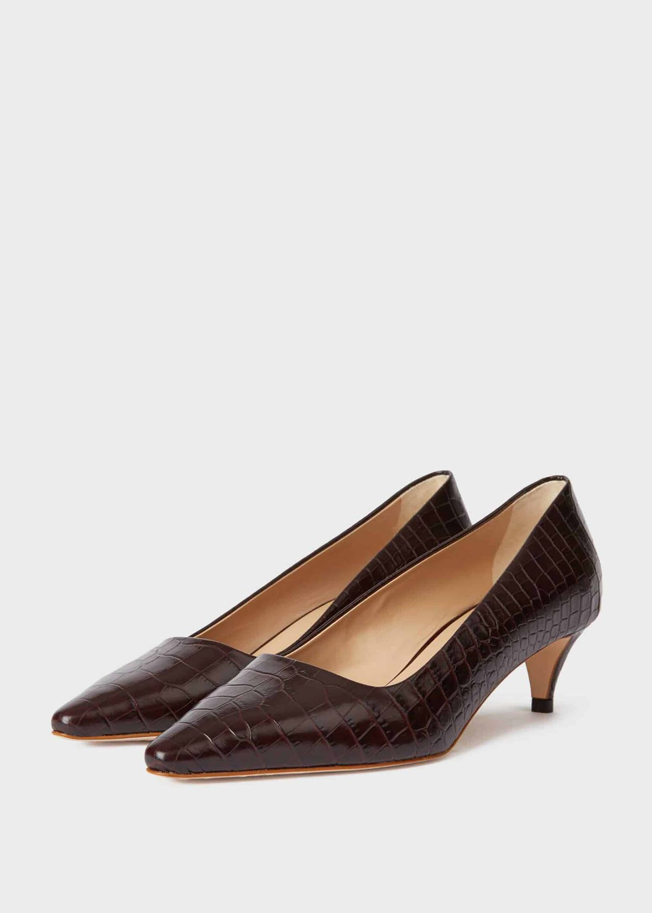 Millie Crocodile Kitten Heel Court Shoes Chocolate