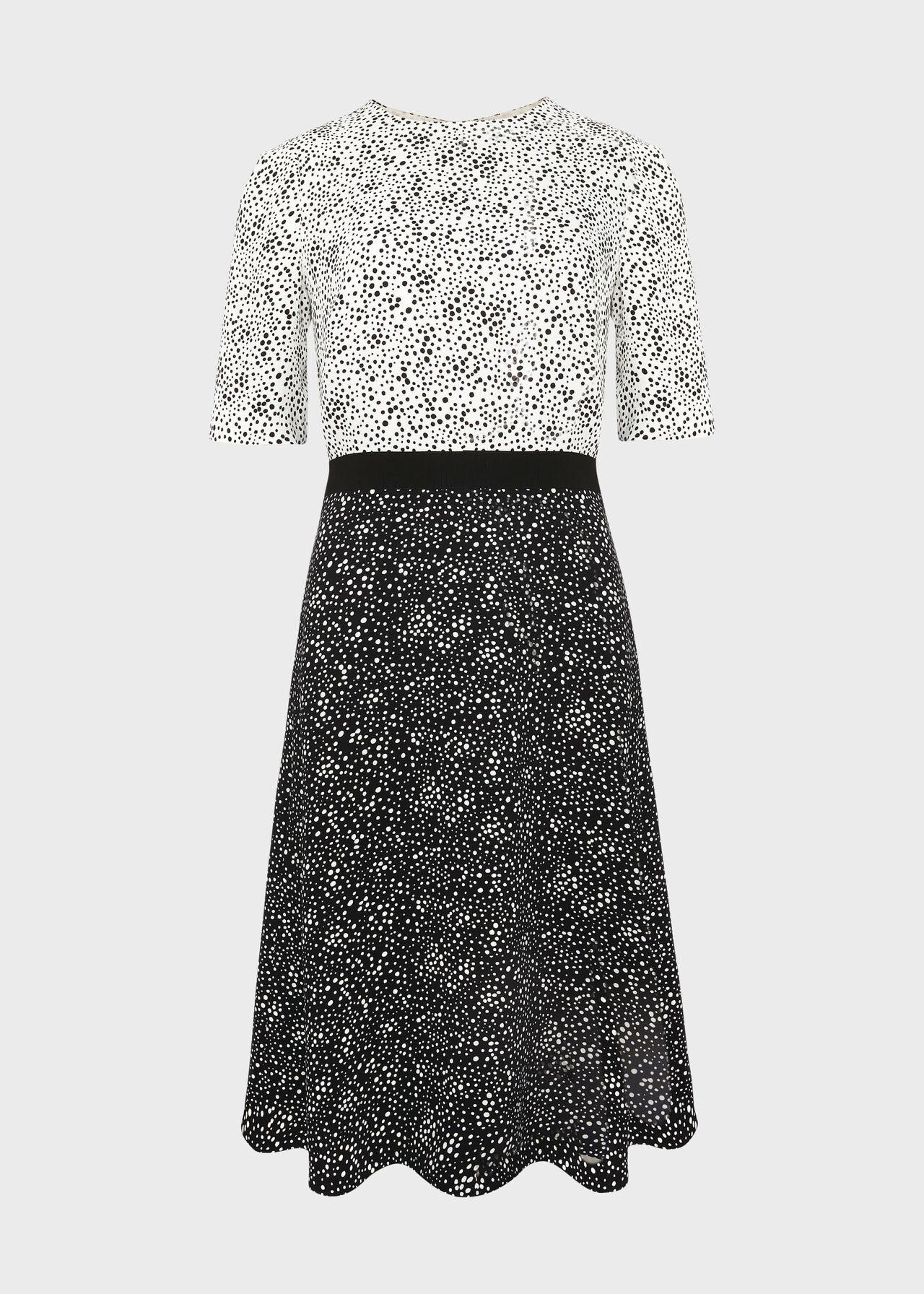 Caroline Crepe Dress Ivory Black