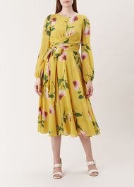 Sadie Silk Dress, Yellow Pink, hi-res