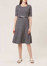 Bayview Dress, Navy White, hi-res
