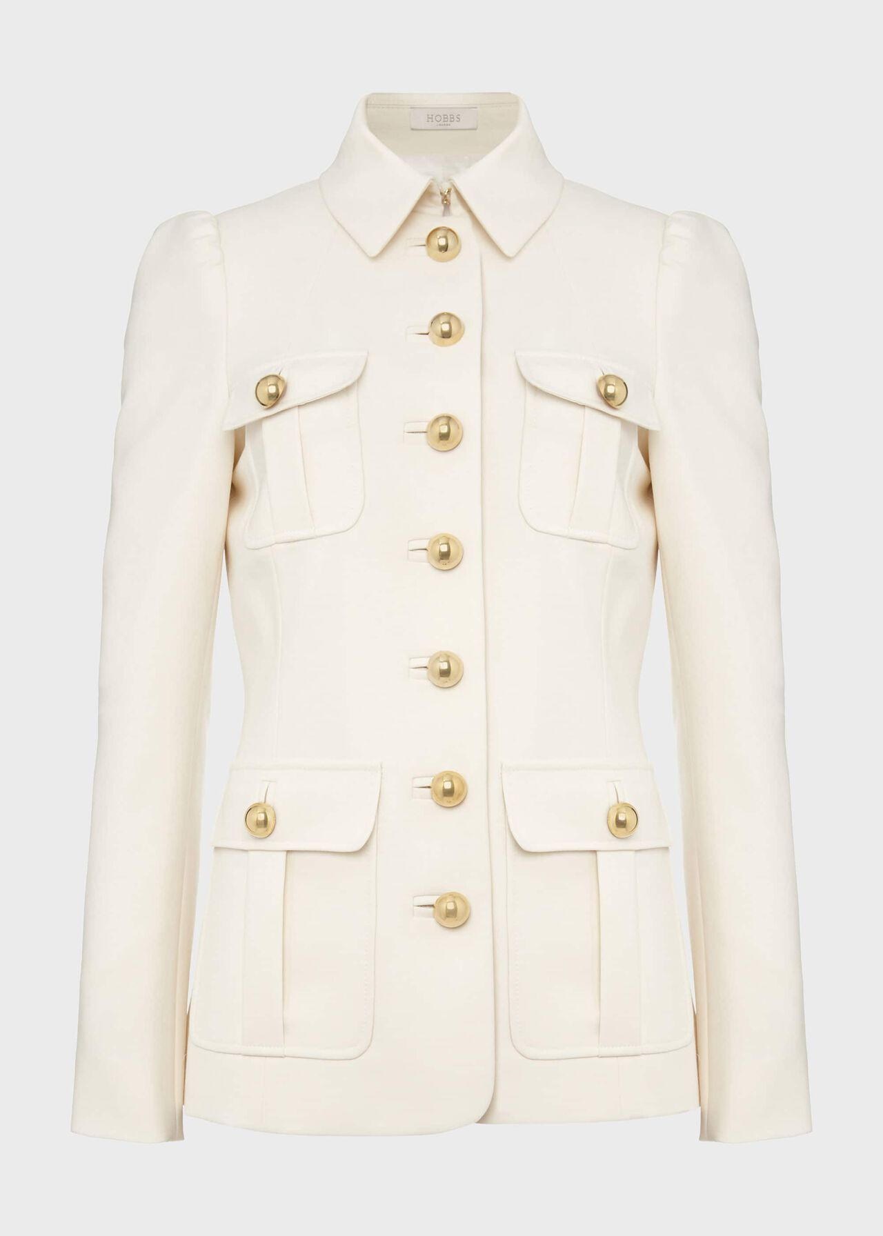 Maddy Wool Blend Military Jacket Ivory